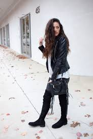 black over the knee boots flat faux leather jacket how to wear otk boots