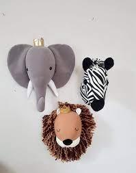 safari wall mount plush animal head