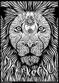 Small Picture Meerkatsu art lion colouring page Zentangles Adult