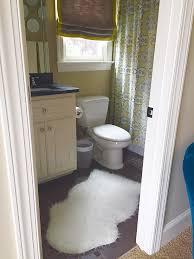 sheepskin rug in bathroom area ideas