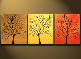 Canvas Paintings Abstract Modern Tree Art Painting 48x20 Original Modern  Contemporary Art on Canvas by Orit