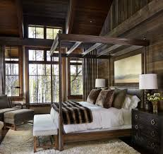rustic cottage cabin style wood canopy bed fur throw better decorating  bible blog interior decor ideas