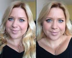 nyx dewy finish makeup setting spray before left and after right