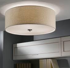 kalunga flush fitting linen drum ceiling light 91282