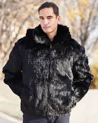 lucas black rabbit fur hooded er jacket for men
