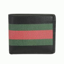 fold the two gucci wallet mens perforated leather black 352260 buz3t