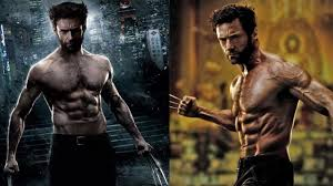 hugh jackman wolverine physique showing muscle gain and fat loss