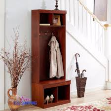 Wooden Coat And Shoe Rack Entryway Wooden Hall Tree Shoe Storage Bench Coat Rack Metal Hooks 18