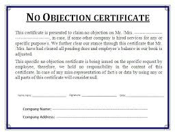 no objection letter sample for job 10 no objection certificate templates free printable word pdf