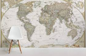 traditional old style map maps room wall murals