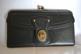 Coach Black Vachetta Leather Legacy Stripe Ali Turnlock Kisslock Framed  Wallet  Coach  TurnlockFramedKissLockTriFold