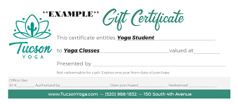 How To Make A Gift Certificate Gift Certificates Tucson Yoga