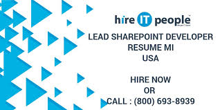 sharepoint developer resume lead sharepoint developer resume mi hire it people we get it done
