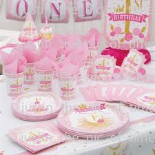 first 1st birthday girls pink gold party supplies tableware decorations