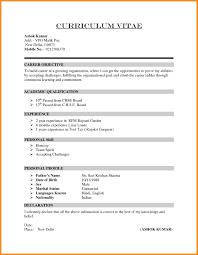 9 Curriculum Vitae Simple Format Odr2017