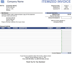 Free Itemized Invoice Template Excel Pdf Word Doc Receipt Invoce