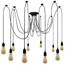 industrial ceiling pendant spider light fixture 10 multiple lighting lamp adjule diy hanging chandelier for living room dinning room bedroom