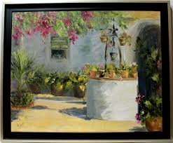 Andalusian Courtyard And Flower Oil Paintings By Rosa Mar A
