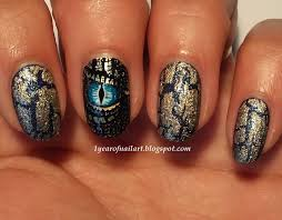 365+ days of nail art: Blue and gold dragon nails