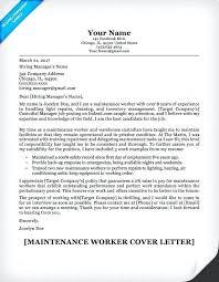 Maintenance Cover Letter Maintenance Worker Cover Letter Hotel