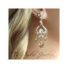gold bridal earrings crystal rhinestone chandelier earings