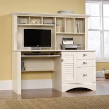 Furniture: Fascinating White Computer Desk And Hutch - White Hideaway  Computer Desk