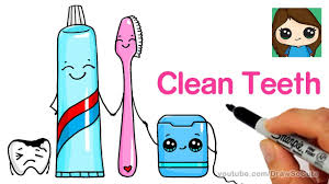 brushing teeth drawing.  Brushing How To Draw A Cute Tooth Brush Paste And Floss Easy With Brushing Teeth Drawing
