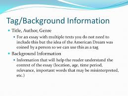 personal essay ppt video online  tag background information