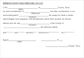 Printable Bill Of Sale For Vehicle In Texas Download Them Or Print