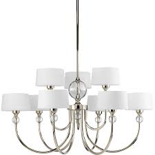 progress lighting fortune 31 in 9 light polished nickel etched glass shaded chandelier