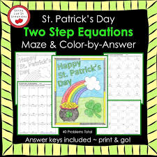 solving equations st patrick s day math two step equations maze color by number