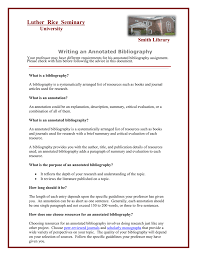 Annotated Bibliography Luther Rice College And Seminary