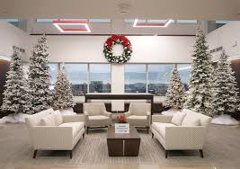office lobby decor. Poinsettias; Chicago Lobby Snowmen; Corporate Office Decor L