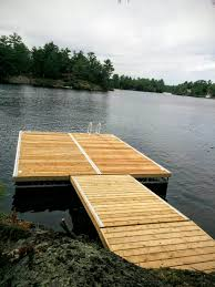 aluminum truss floating dock and ramp with western red cedar decking