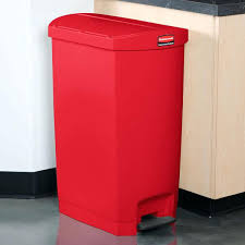 red trash cans with lids can wheels step on 13 gallon kitchen