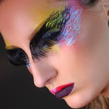 high fashion avant garde makeup lashes on eyebrows