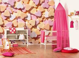 Pink And White Wallpaper For A Bedroom Bedroom Romantic Girls Design With White Crib Fuchsia Curtain And