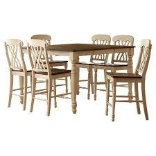 white counter height table. HomeSullivan 7-Piece Antique White And Oak Bar Table Set Counter Height W