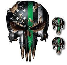 All png & cliparts images on nicepng are best quality. 3 Pack Of Thin Green Line Punisher Skulls I Support The Military Vinyl Decal Sticker American Flag Car Truck Amazon In Car Motorbike