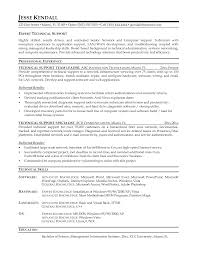 Resume Example Technical Support Manager Cover Letter Resume