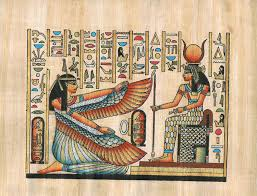 Ancient egyptian depictions of isis show her dressed in a long dress with a crown on her head. Buy Hand Painted In Egypt Natural Papyrus Painting Goddess Isis Goddess Of Love Motherhood Magic And Fertility With Her Wings Open To Goddess Hathore Who Was A Goddess Of Music Dance Foreign Lands