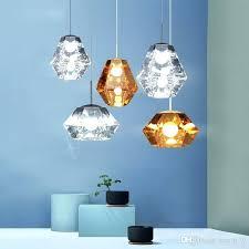 diamond pendant light modern diamond pendant lights amber glass suspension led lamp for restaurant bar cafe