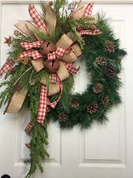 Country Wreath Christmas Burlap Rustic Pine by WilliamsFloral