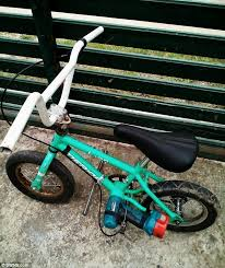 the devoted father replaced one brake lever with a cable running to the drill so