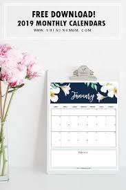 free printable 2019 monthly calendar calendar 2019 printable free 12 monthly calendars to love free