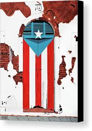 door of the puerto rico flag in the city of san juan canvas print featuring the