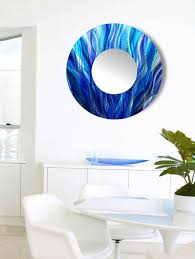 aqua blue teal purple jewel tone abstract painted circle wall mirror large modern metal wall decor contemporary functional art abstract art  on large modern mirror wall art with contemporary aqua blue teal purple abstract circle wall mirror