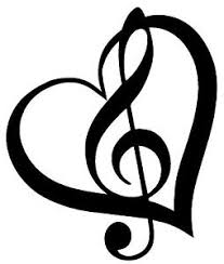 treblecleff treble clef inside heart with outline vinyl decal sticker cute music