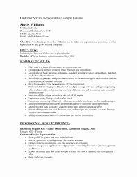 Resume For Customer Service Representative Job New Customer Service