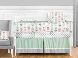 mod arrow grey c and mint crib bedding collection enlarge
